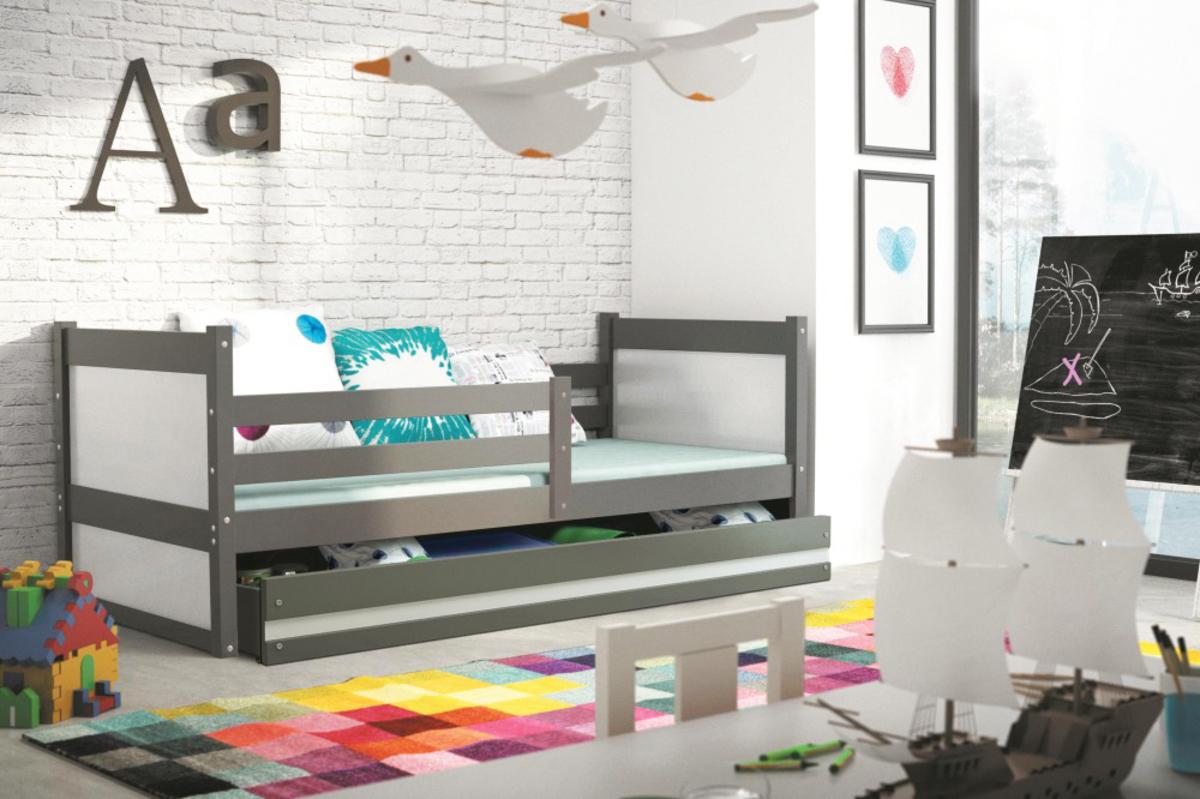Detská posteľ Rocky 1 - grafit 190x80 cm biela