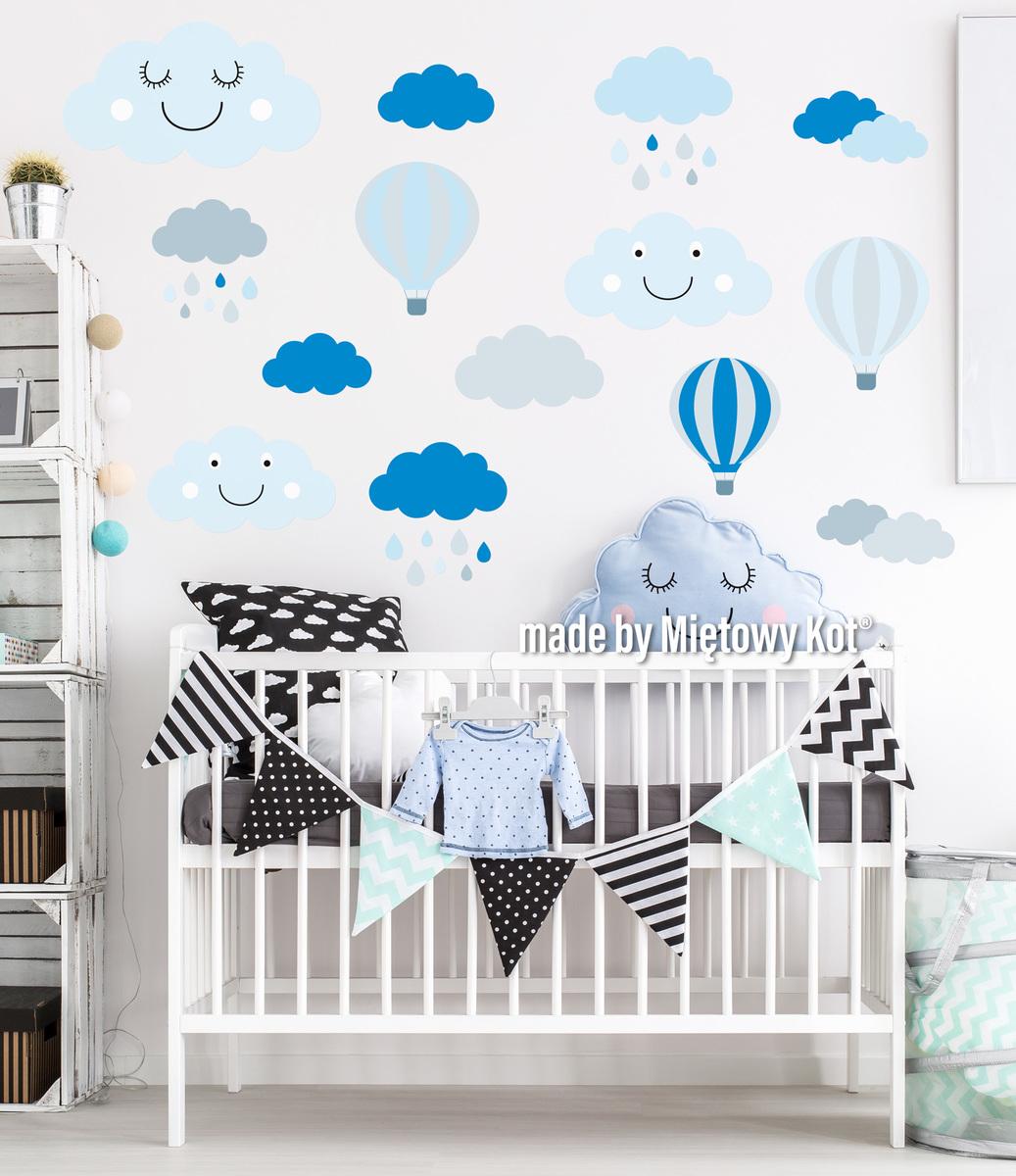 Dekorácia na stenu - mráčky a balóny šedo-modré