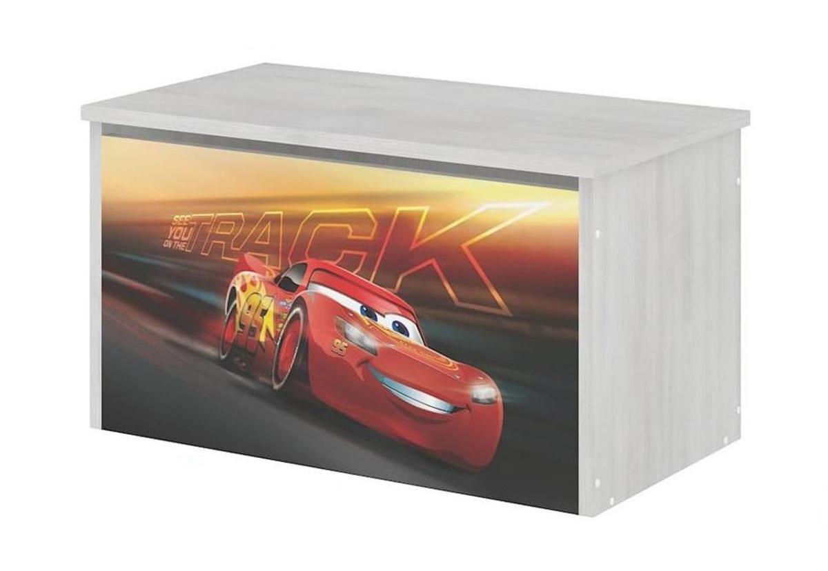Drevená truhla na hračky Disney - Autá 3 McQueen - dekor nórska borovica toy chest Cars