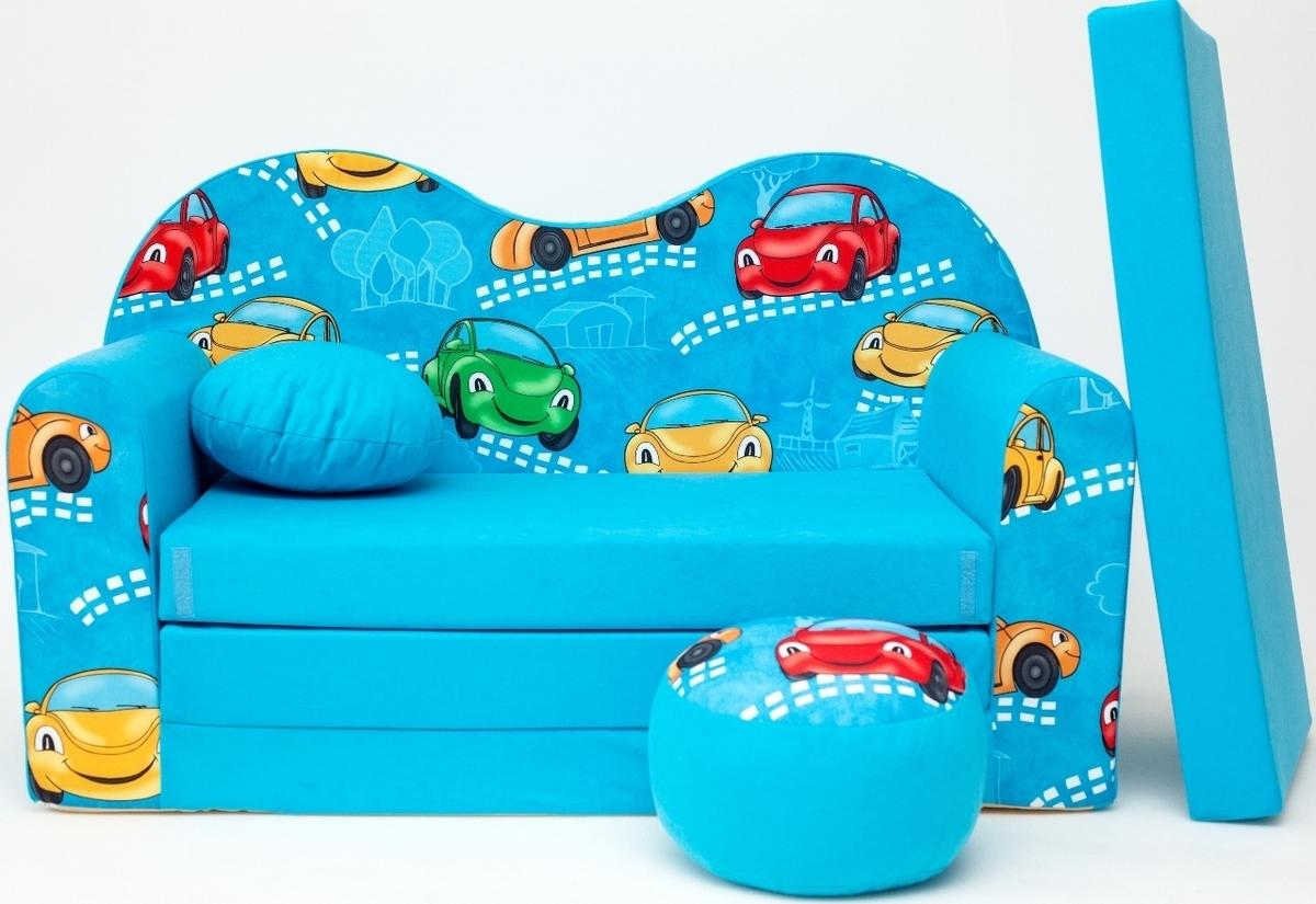 Detská pohovka autá - modrá B11