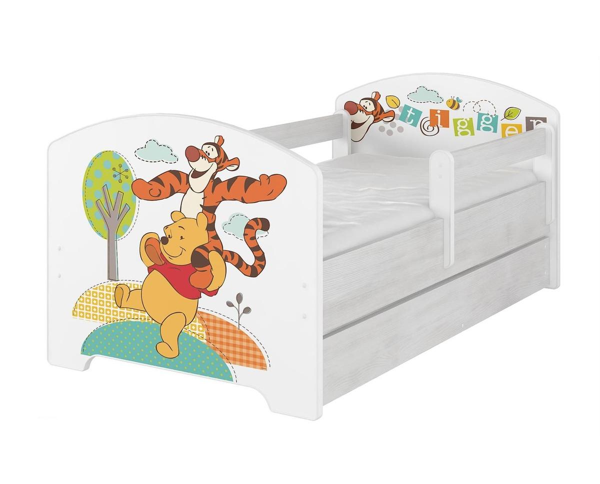 Detská posteľ so zábranou - Medvedík Pú a tiger - dekor nórska borovica Oskar bed Winnie-the-Pooh and 160x80 cm posteľ + úložný priestor