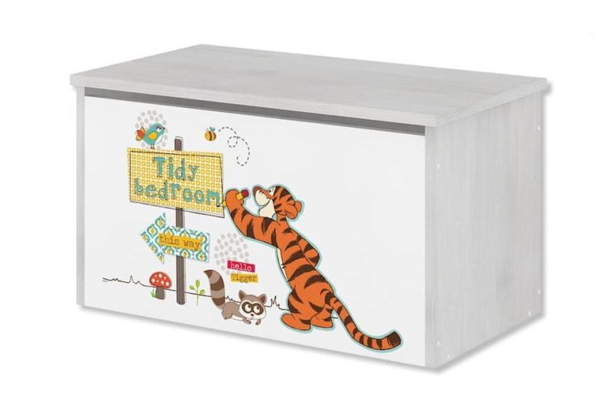 Drevená truhla na hračky Disney - Medvedík Pú a tiger - dekor nórska borovica toy chest Winnie Pooh Tigger