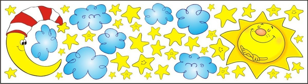 Nálepky na okno - slnko, mesiac, hviezdy - 0,3 m2 0,3 m²