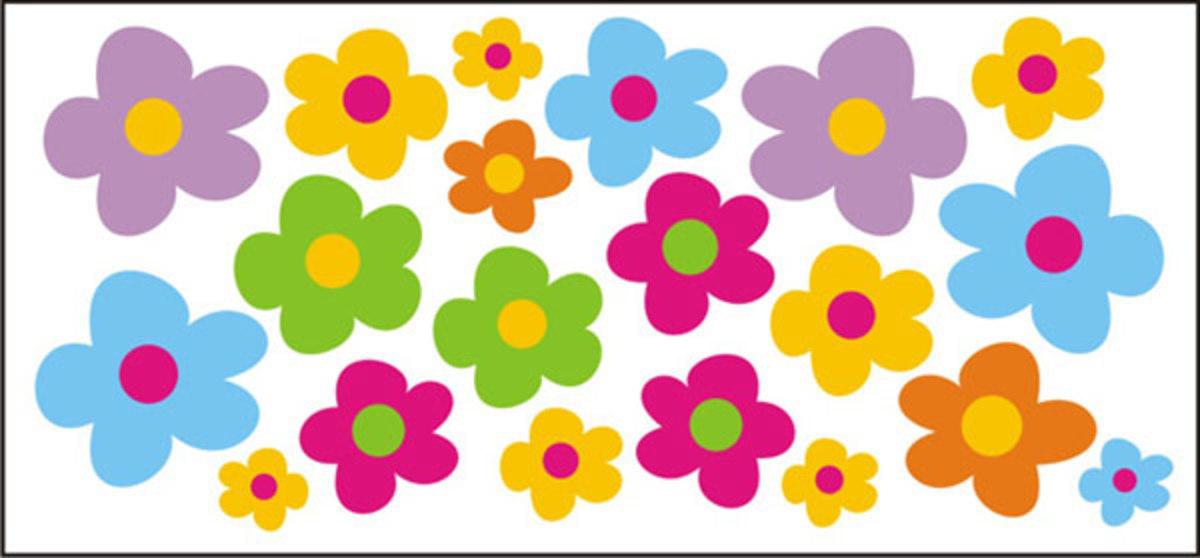Nálepky na okno - farebné kvetinky - 0,3 m2 0,3 m²