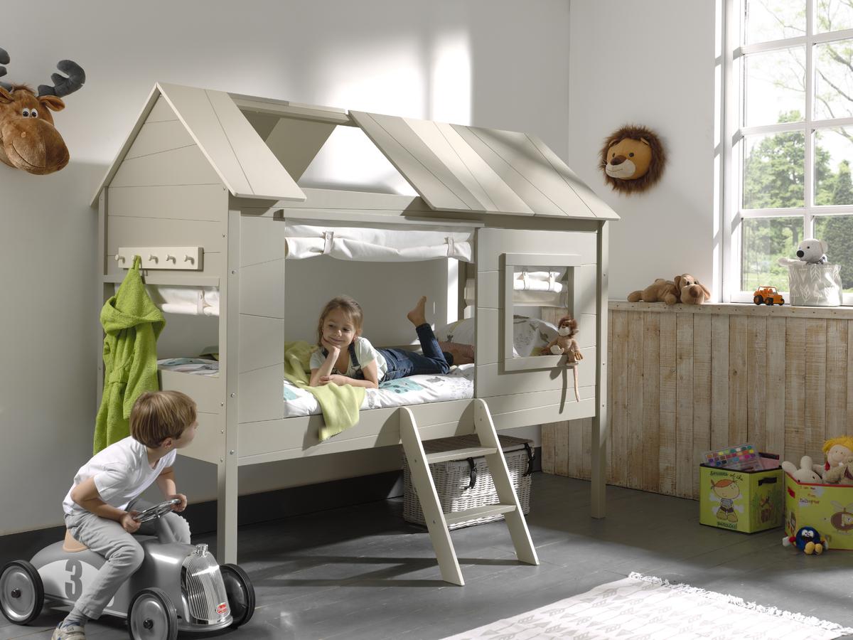 Detská posteľ domček Charlotte - krémová