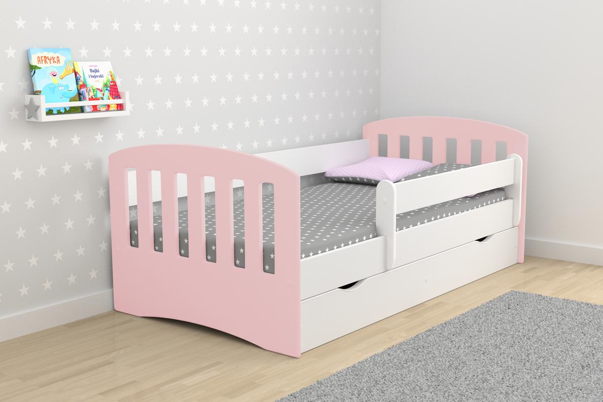 Detská posteľ CLASSIC - multicolor 160x80 cm posteľ + úložný priestor púdrová ružová
