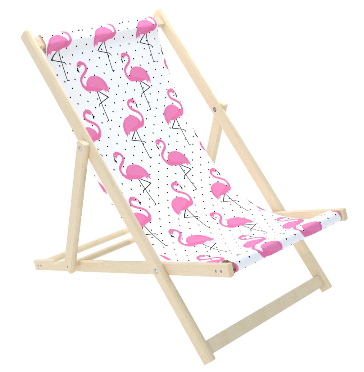 Detské plážové lehátko Plameniaky flamingo