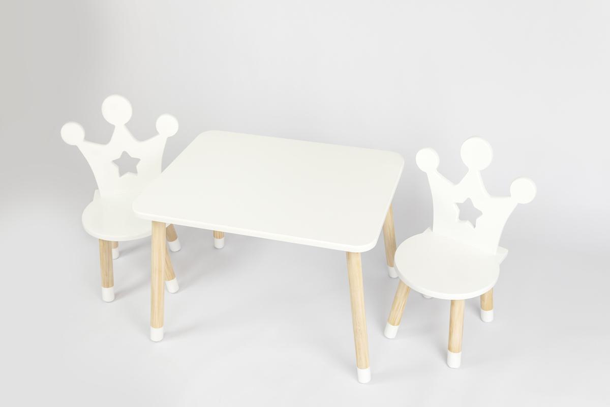 Detský stôl so stoličkami - Koruna - biely Kids table set - crown