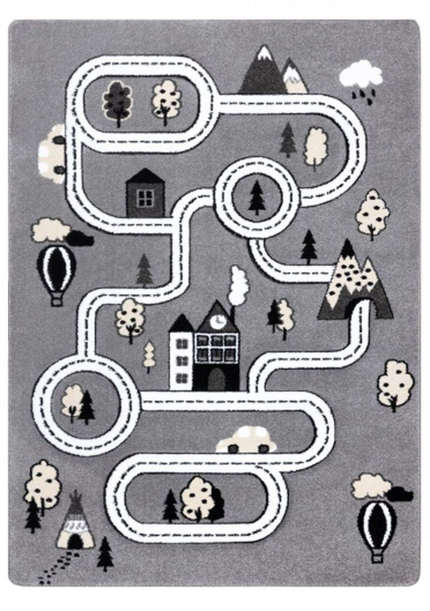 Detský koberec PETIT - Mesto a cesty - šedý Town rug - grey 140 x 190 cm