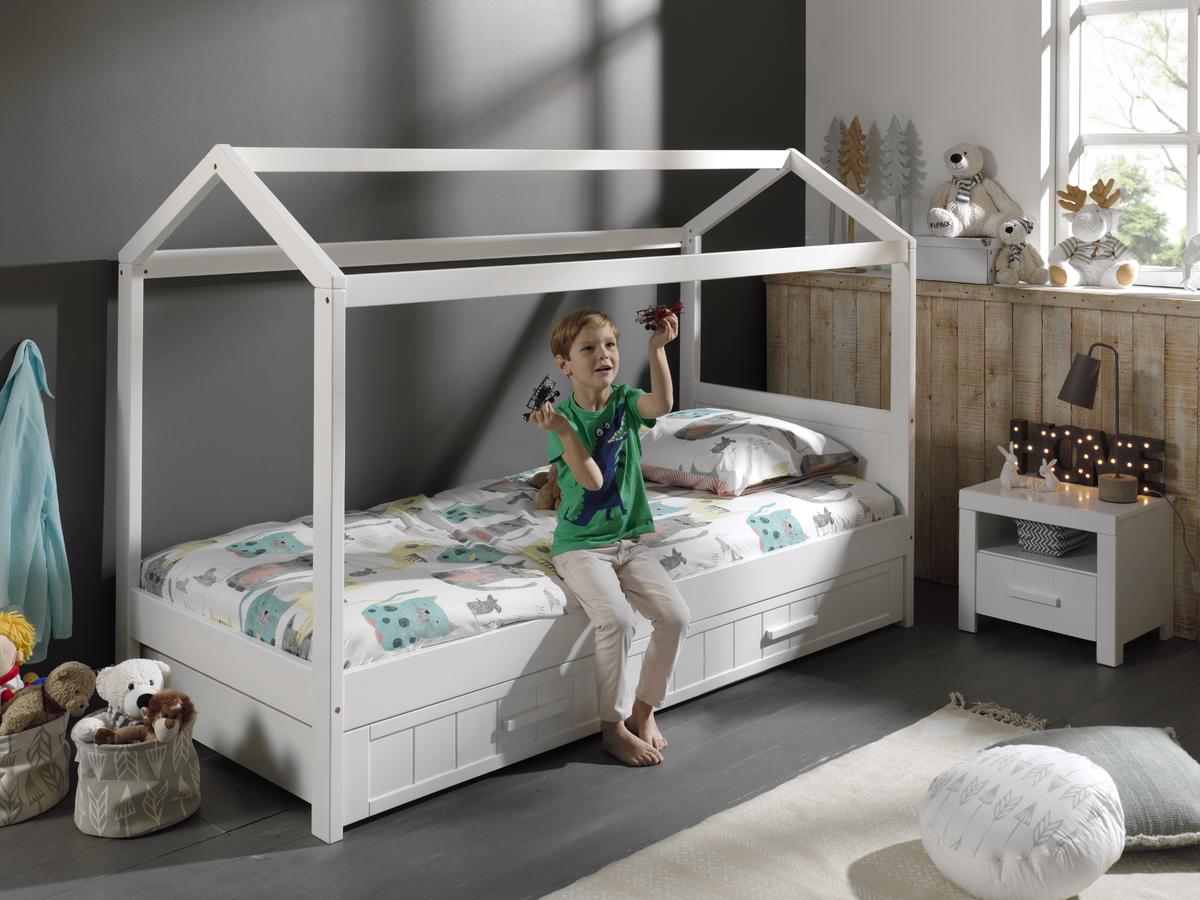 Detská posteľ domček Erik - biela posteľ