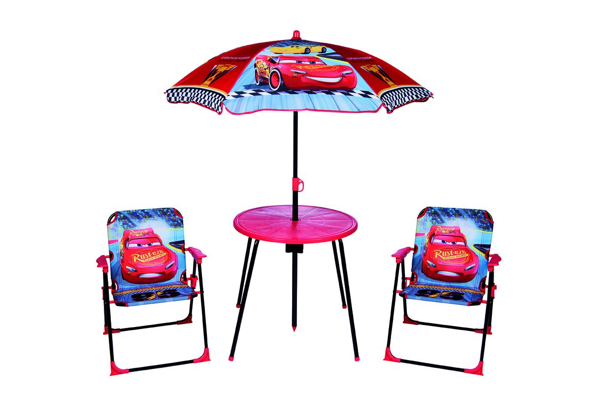 Detský záhradný set Cars - modro-červený stolík + 2 stoličky + dáždnik