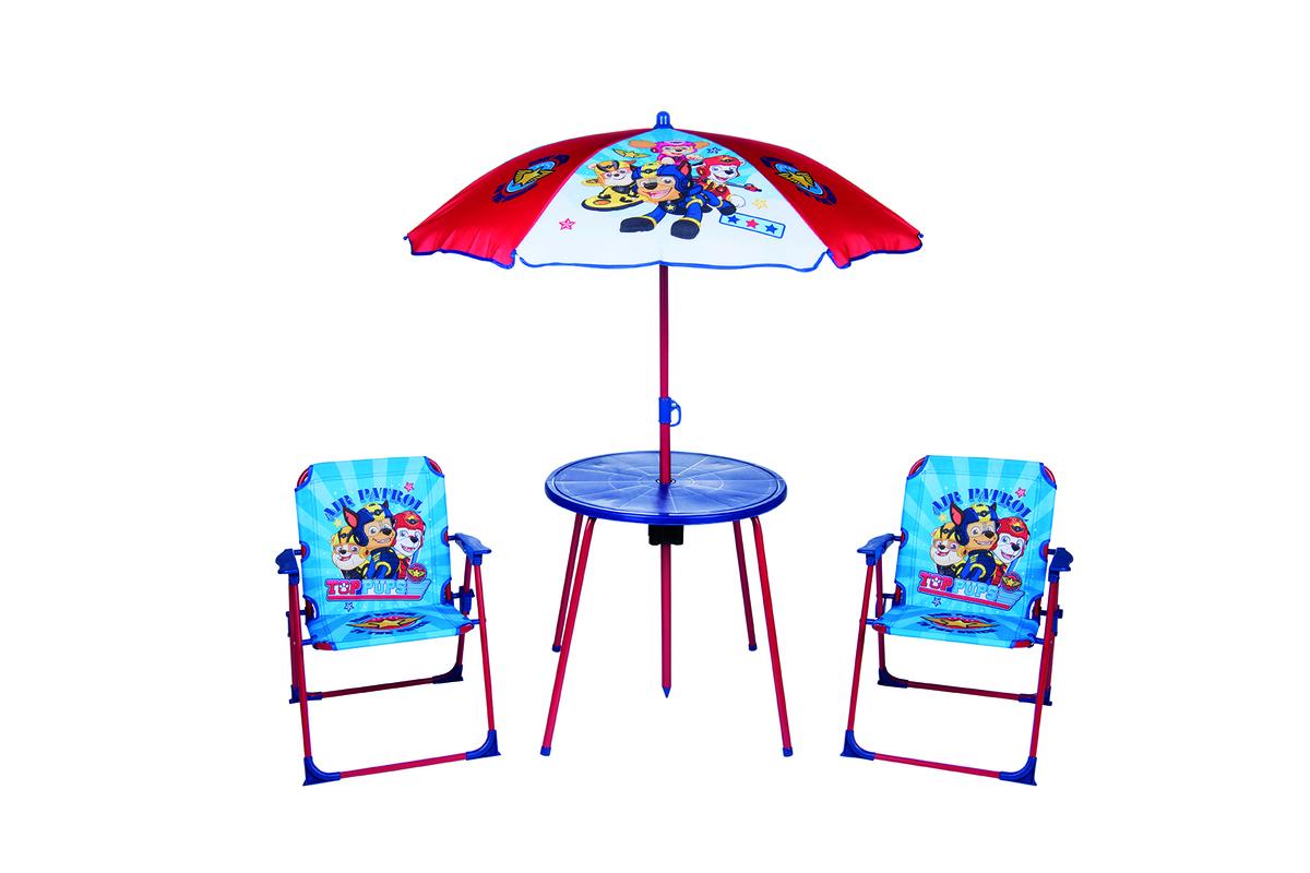 Detský záhradný set Paw Patrol - modrý stolík + 2 stoličky + dáždnik