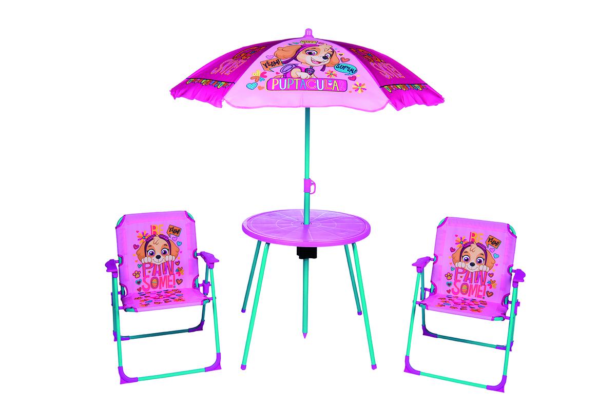 Detský záhradný set Paw Patrol - ružový stolík + 2 stoličky + dáždnik
