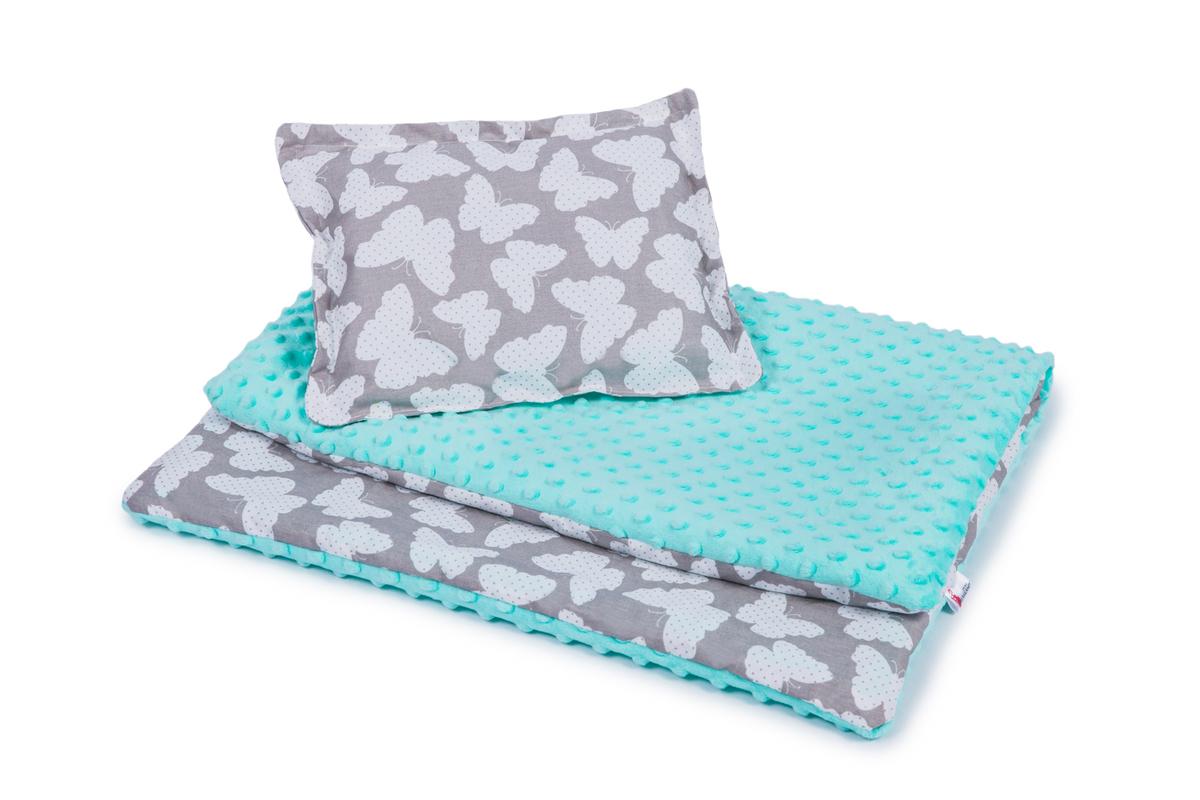 Detská deka a vankúš L Motýliky - mätová 100x75 cm + 35x25 cm