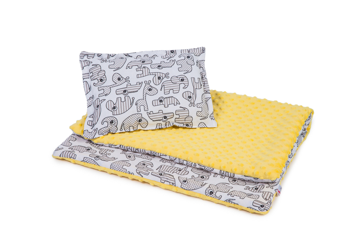 Detská deka a vankúš L Zvieratká - žltá
