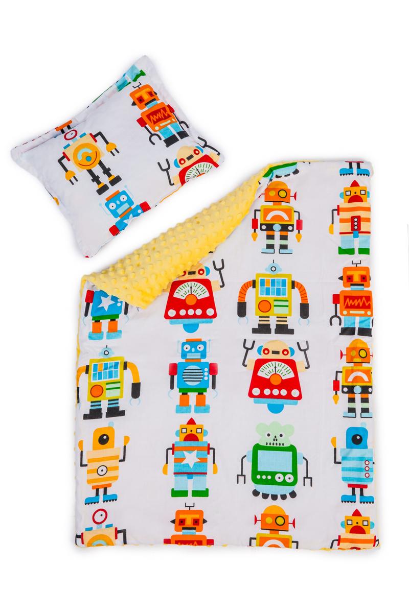 Detská deka a vankúš L Roboti