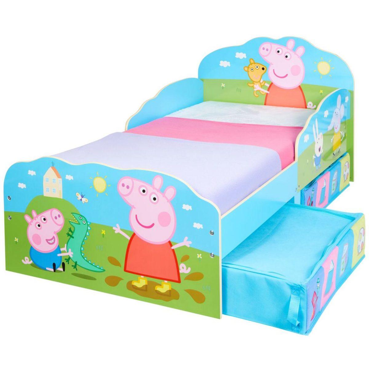 Detská posteľ Ourbaby Peppa and friends modrá zelená 140x70 cm