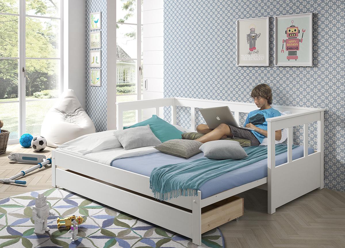 Detská rozkladacia posteľ s opierkou Pino - biela posteľ