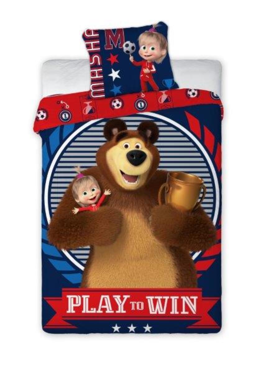 Detské obliečky Máša a medveď Play 140x200 + 70x90 cm Masa Bear