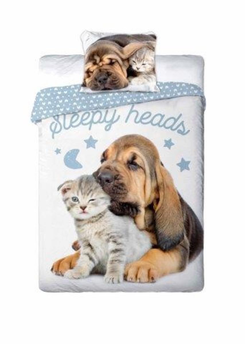 Obliečok Faro Sleepy friends Bloodhound hnedá sivá 200x140 cm 90x70