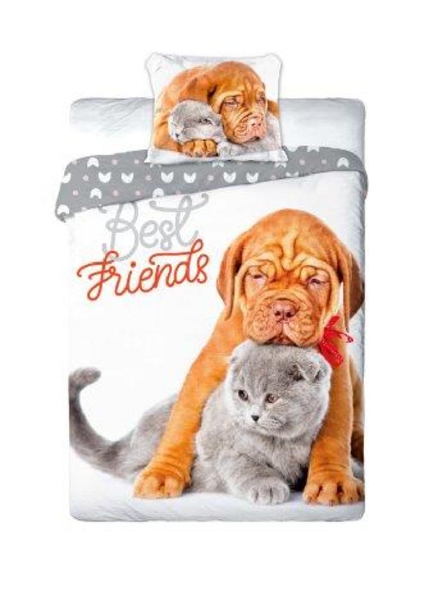 Obliečok Faro Best Friends Dogue de biela sivá 200x140 cm 90x70