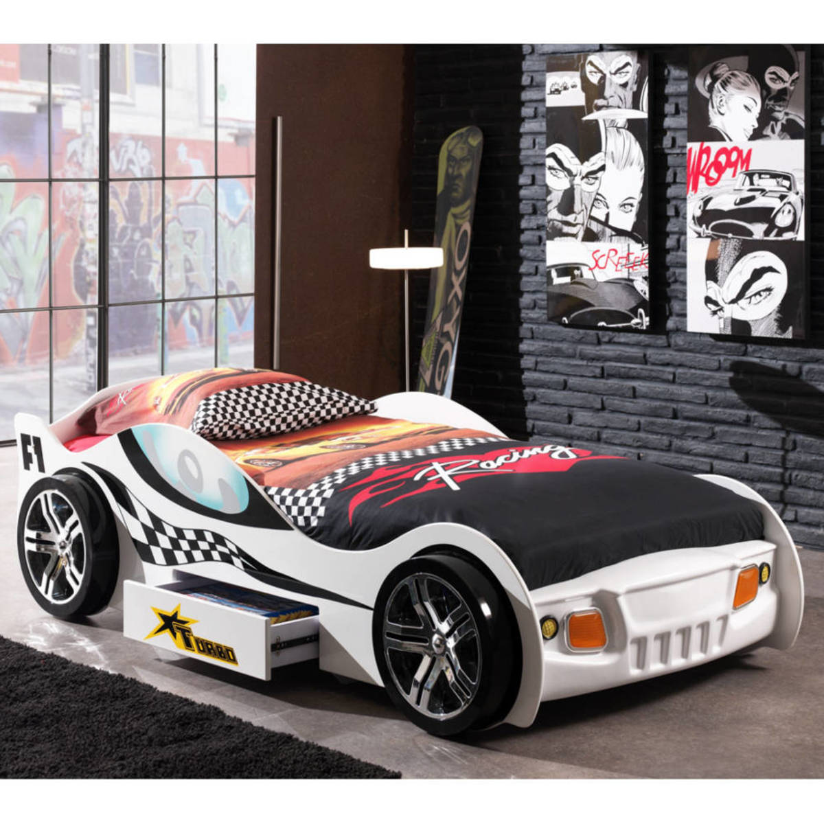 Detská posteľ auto Turbo Racing - biela Car