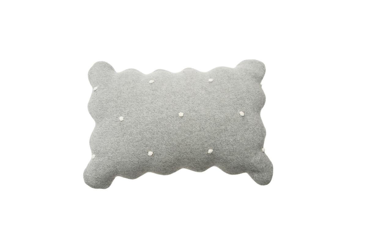 Dekoračný pletený vankúšik Biscuit - Grey knitted cushion
