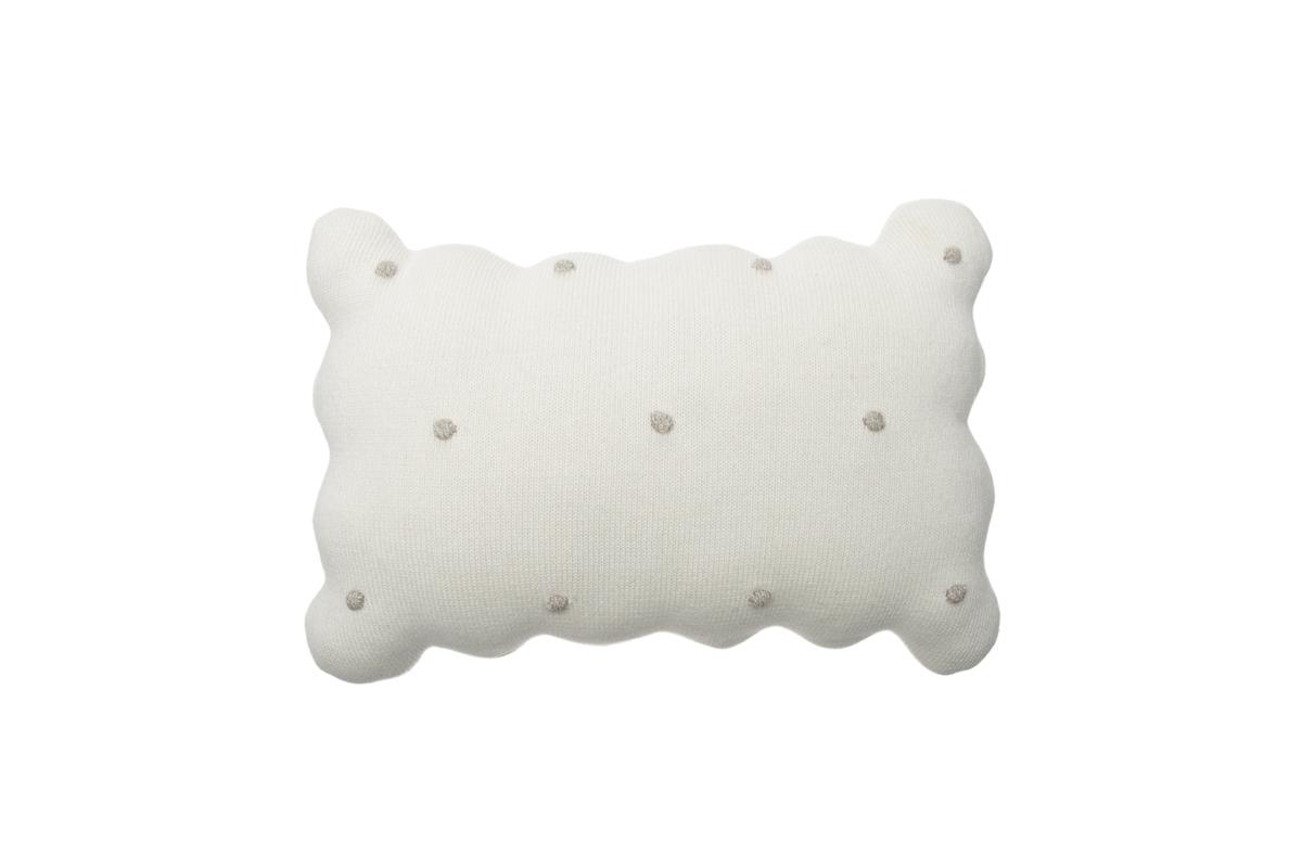 Dekoračný pletený vankúšik Biscuit - Ivory knitted cushion