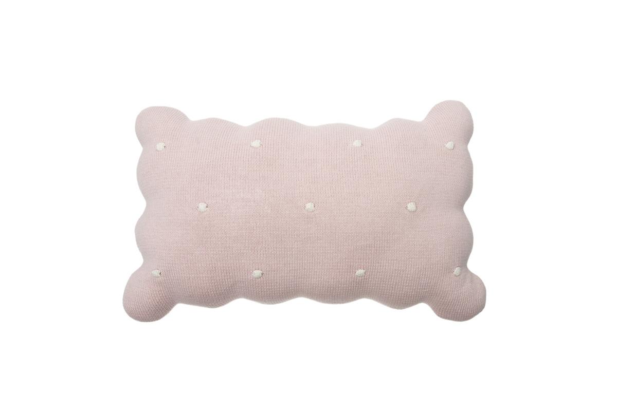 Dekoračný pletený vankúšik Biscuit - Pink knitted cushion