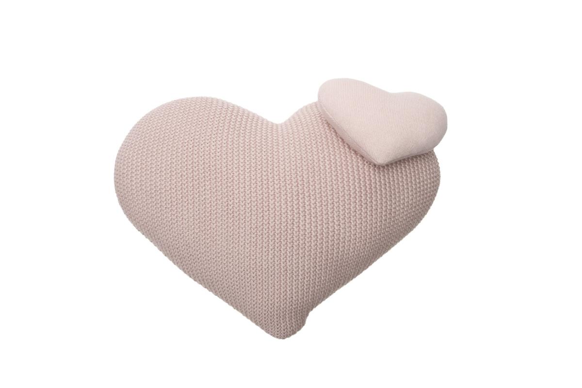 Dekoračný pletený vankúšik - Love knitted pillow heart