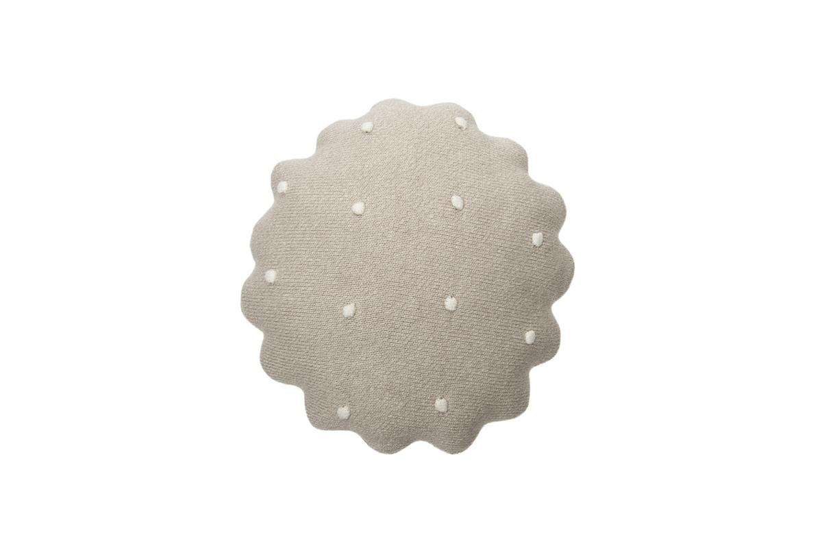 Pletený guľatý vankúšik Biscuit - Dune White round cushion
