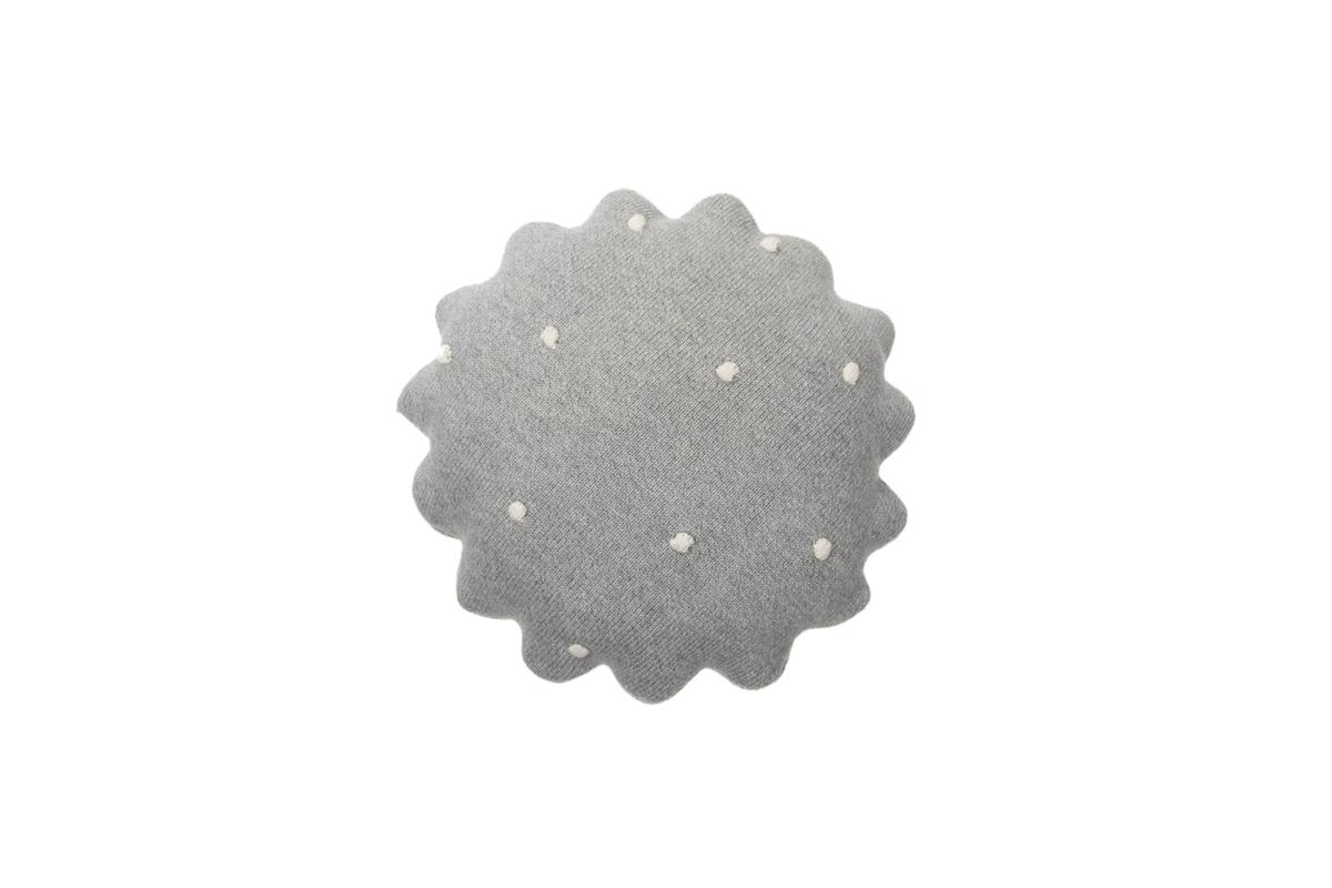 Pletený guľatý vankúšik Biscuit - Grey round cushion