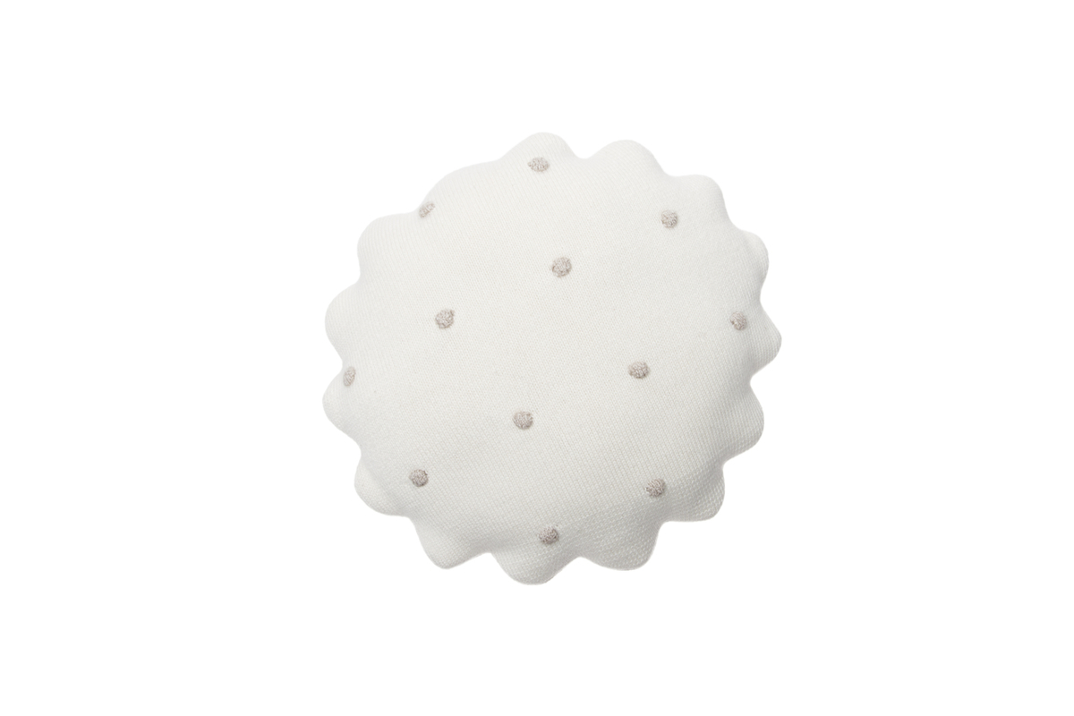 Pletený guľatý vankúšik Biscuit - Ivory round cushion