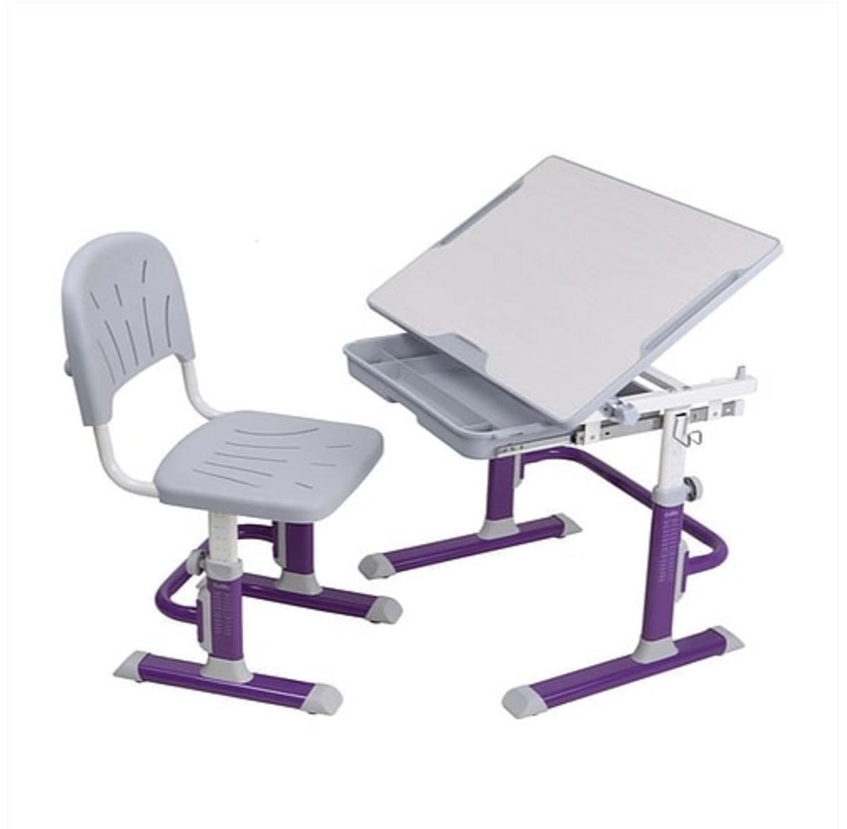 Detský písací stôl + stoličky Cubby Lupin - fialový