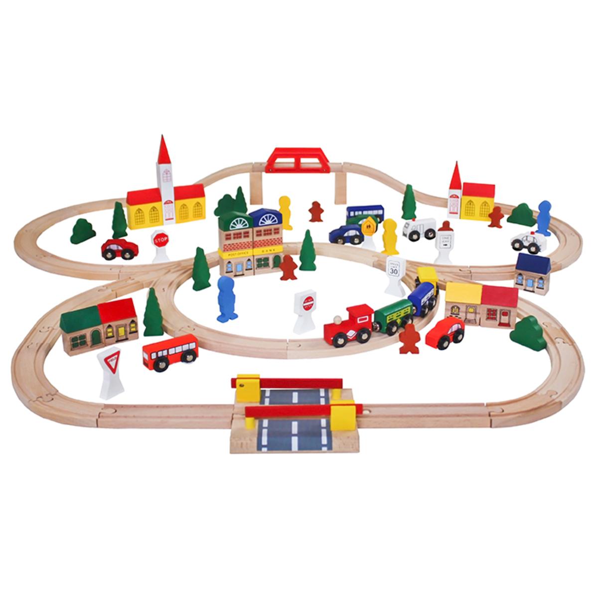 Drevená vláčkodráha - 100 prvkov Wooden train track pcs