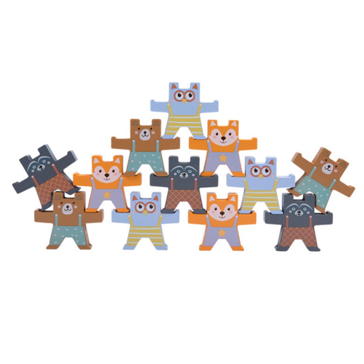 Drevená balančná hra - zvieratká Wooden balancing rocks toy