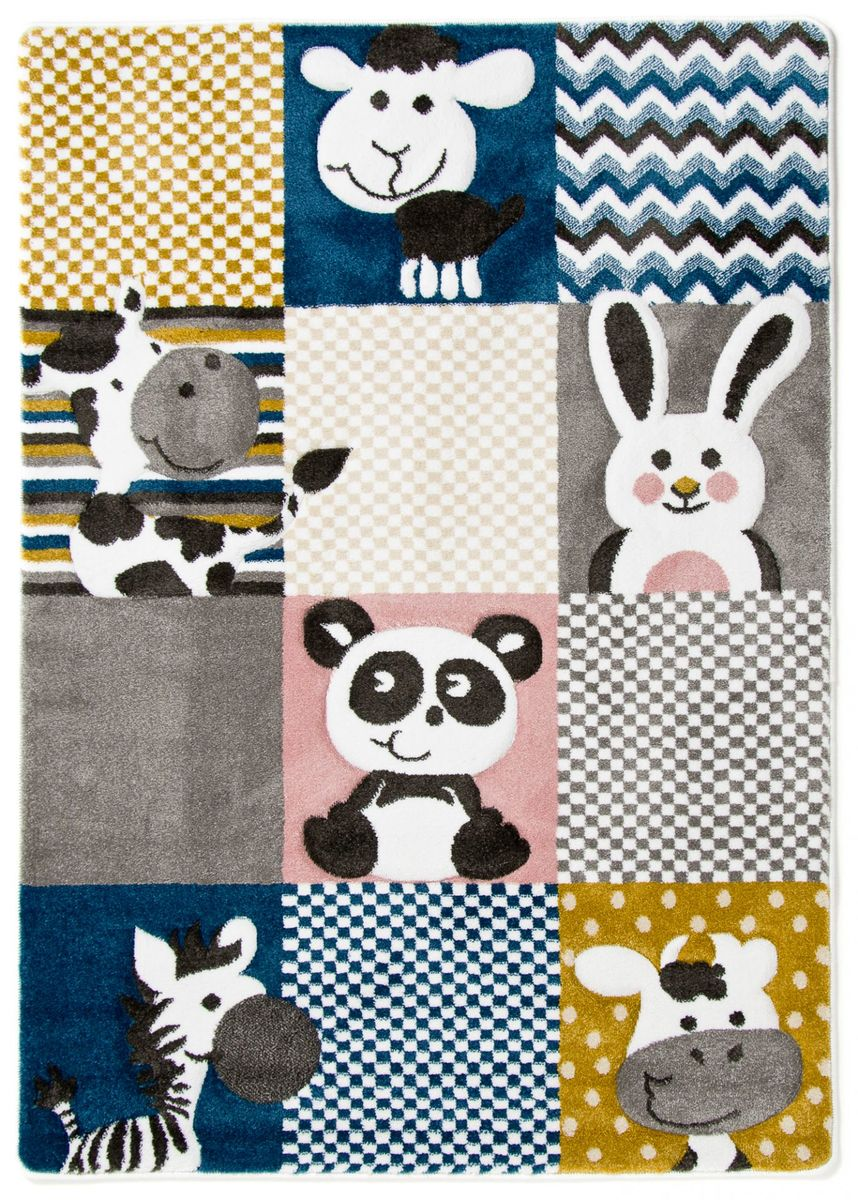 Detský koberec PETIT - ZOO zvieratká - farebný rug - cream-grey 120 x 170 cm