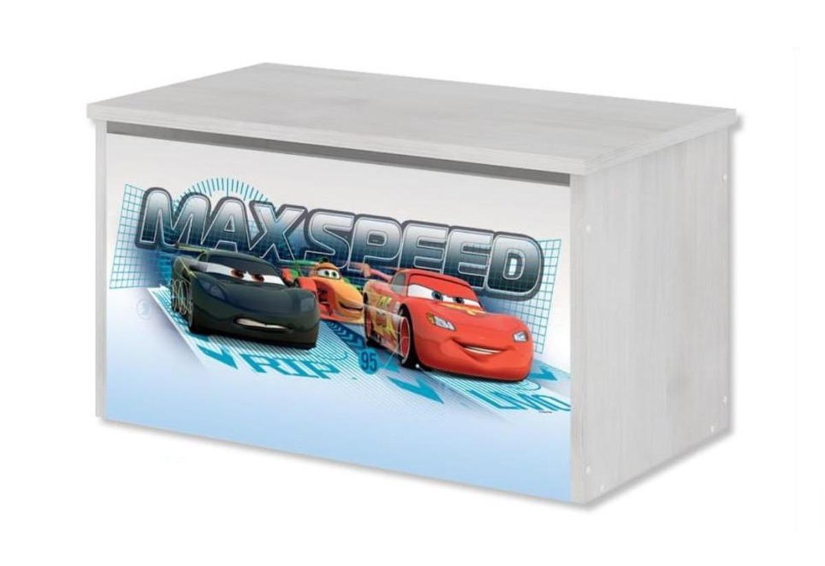Drevená truhla na hračky Disney - Autá - dekor nórska borovica toy chest Cars