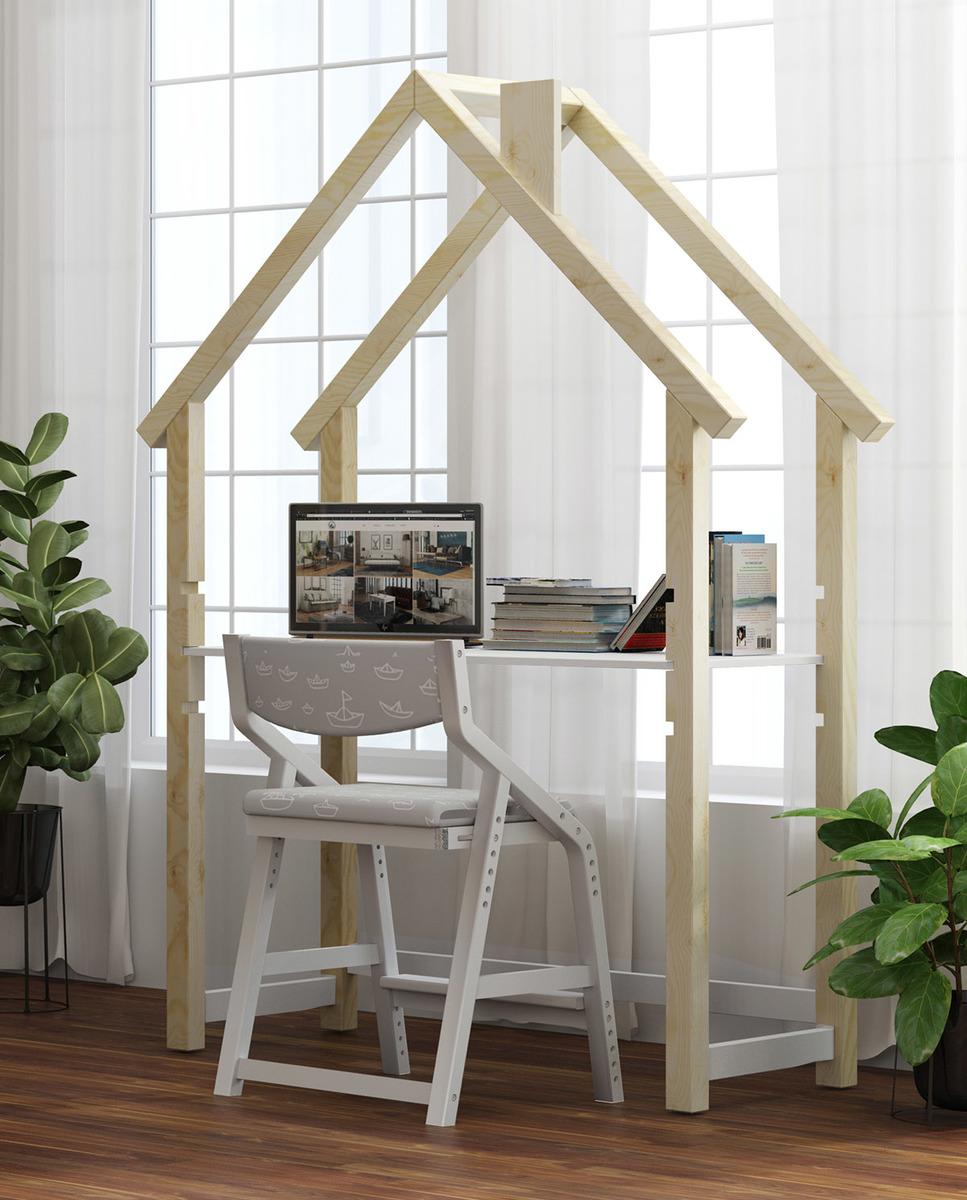 Domčekový písací stôl FRANK scandi - biely-prírodný Desk