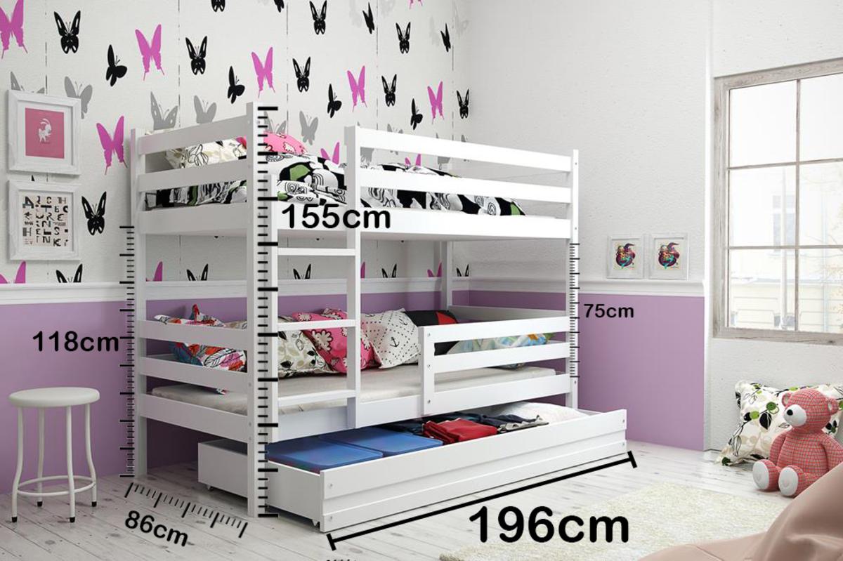 Detská poschodová posteľ ERIKA - biela biela