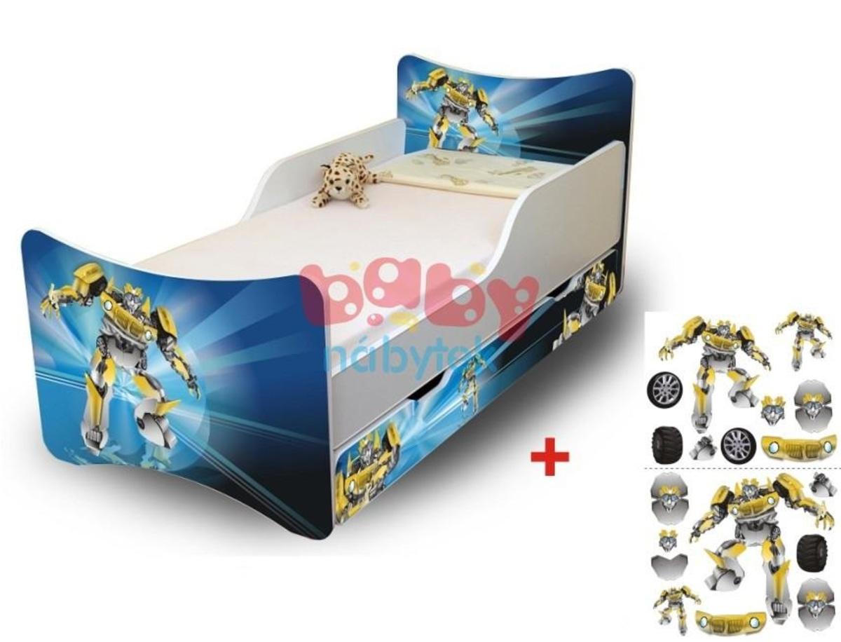 Detská posteľ - robot 140x70 cm posteľ bez úložného priestoru