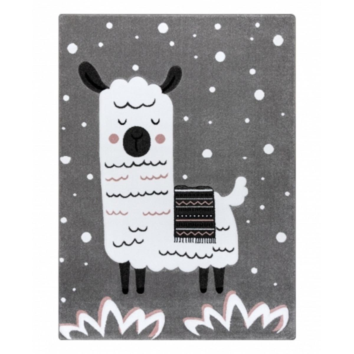 Detský koberec PETIT - Lama - sivý Llama rug - grey 80 x 150 cm