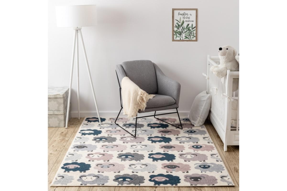 Detský koberec Ovečky - krémový 160 x 220 cm