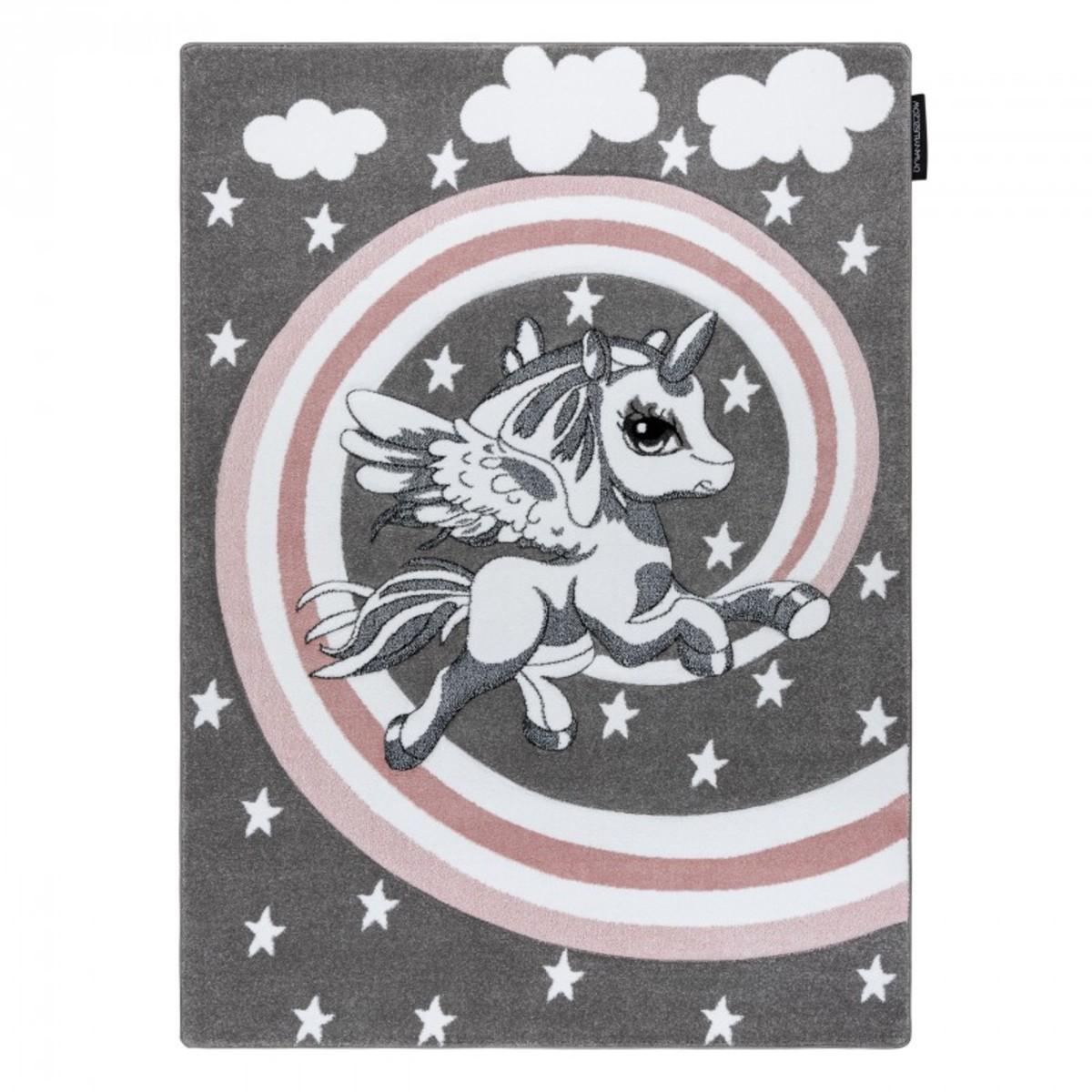 Detský koberec PETIT - Jednorožec - sivý Unicorn rug - grey 80 x 150 cm