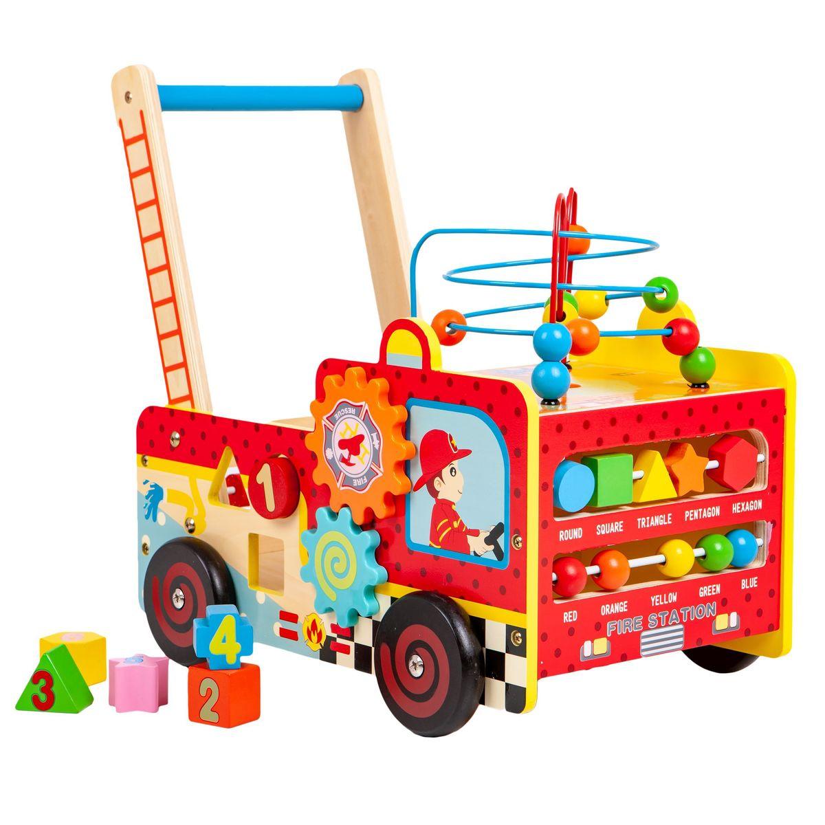 Drevené edukačná chodítko s kockami - hasičské auto