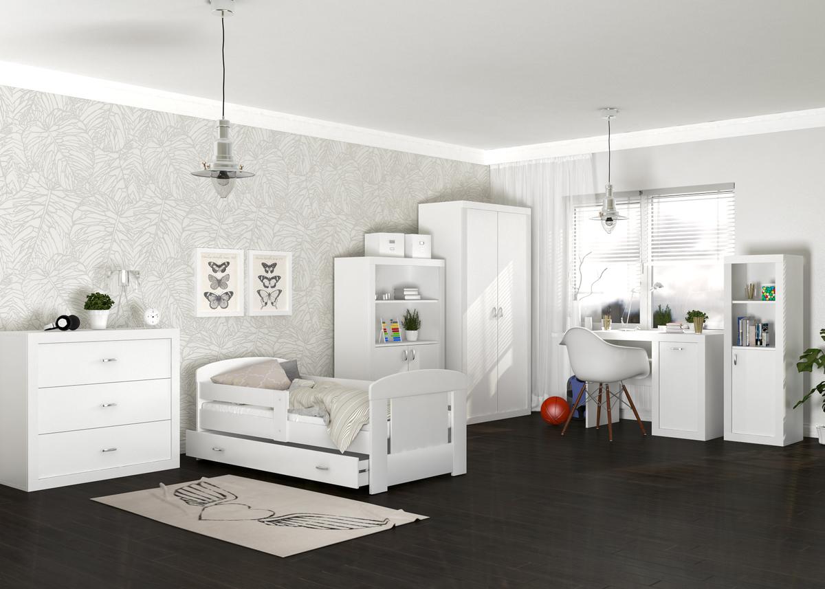Detská izba Filip - biela posteľ + úložný priestor 200x80 cm