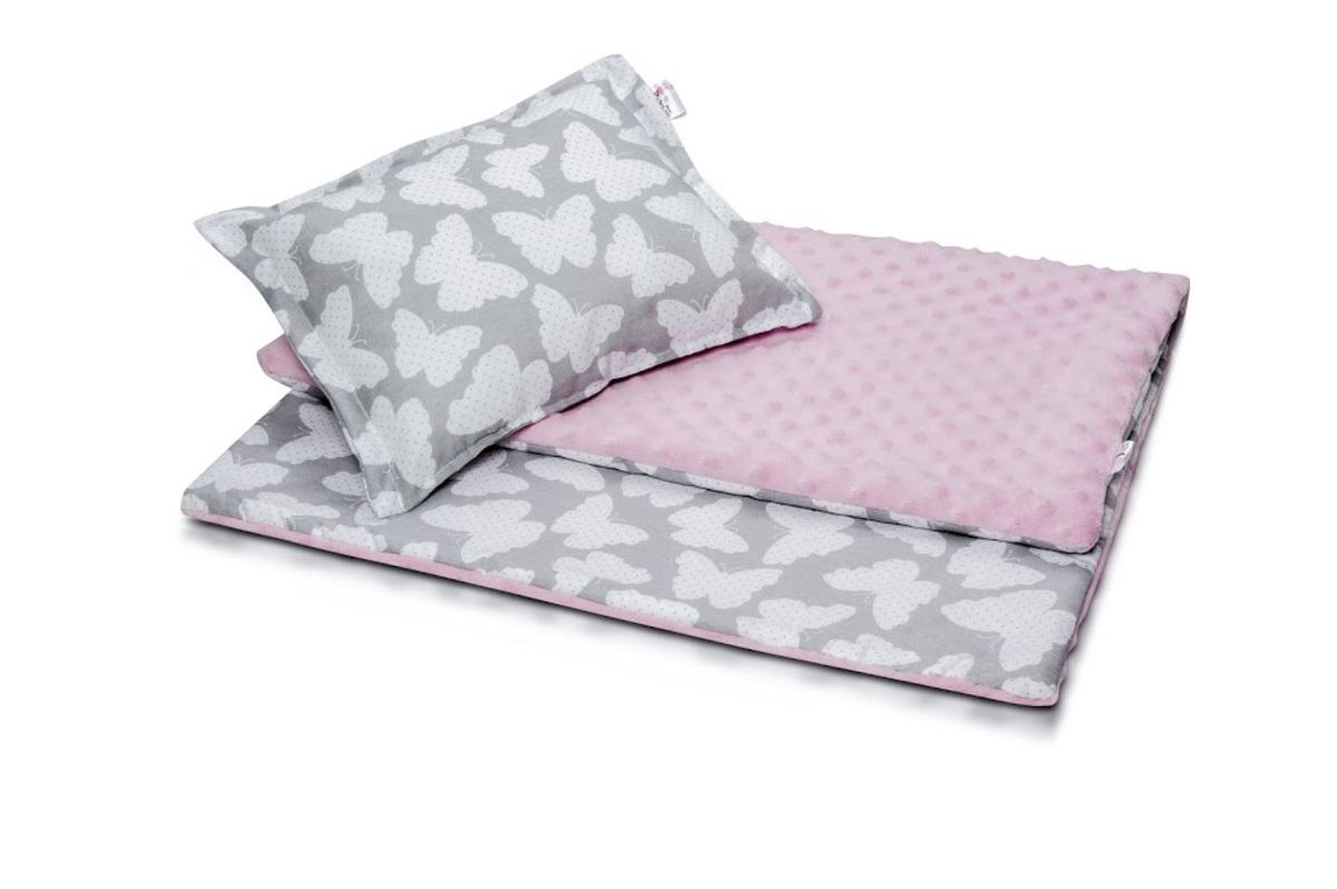 Detská deka a vankúš L Motýliky - ružový 100x75 cm + 35x25 cm