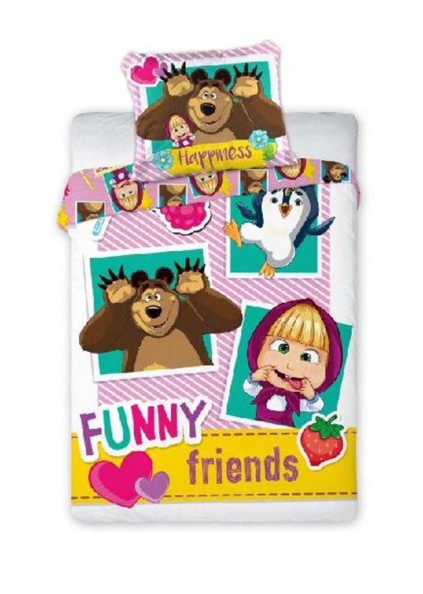Detské obliečky 135x100 + 60x40 cm Máša a medveď Friends