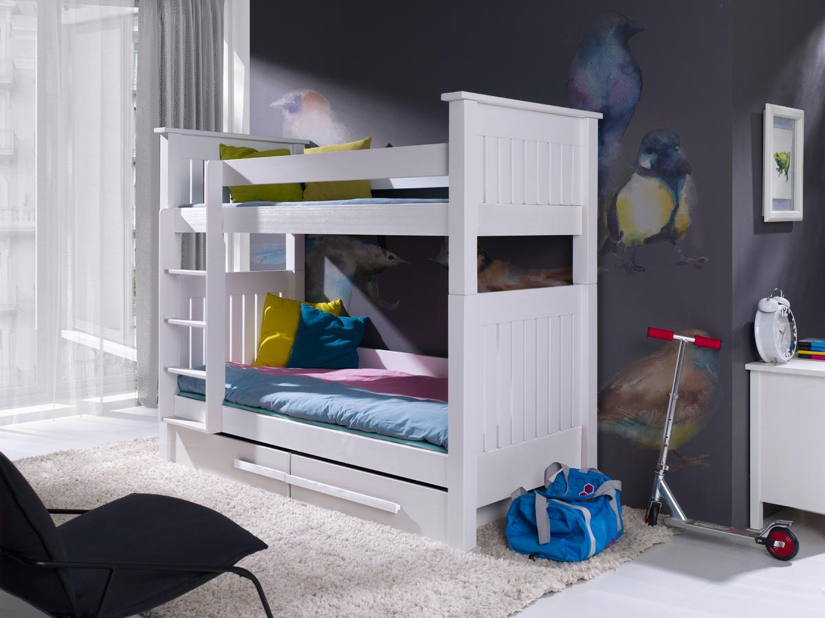 Detská poschodová posteľ Kazek - biela 200x90 cm
