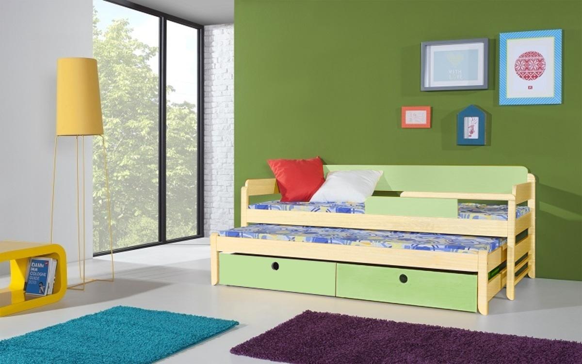 Detská posteľ s prístelkou Natu 180x80 cm - prírodná-zelená akryl